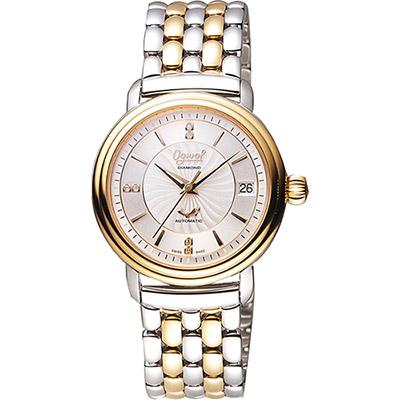 Ogival 愛其華 雅仕真鑽機械腕錶-銀x雙色版/35mm