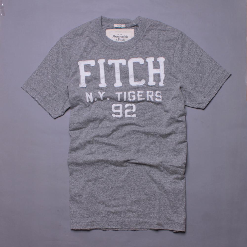 A&F Abercrombie & Fitch LOGO英文刺繡貼布短T-麻花灰