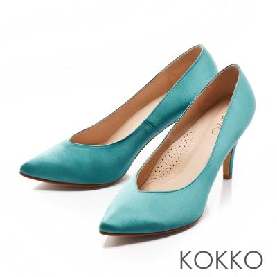 KOKKO-經典尖頭光感桃心口高跟鞋-蒂芬妮綠