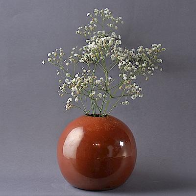 Serax 比利時 球型陶瓷釉澤花器 鐵鏽紅 15x15x14.5cm