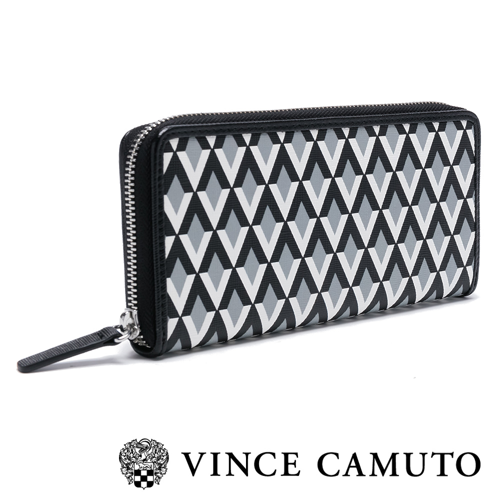 Vince Camuto 簡約菱格紋長夾-黑色