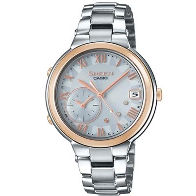 SHEEN 羅馬時刻優雅智慧藍芽傳輸太陽能日曆腕錶(SHB-200ASG)蜜桃金框34mm