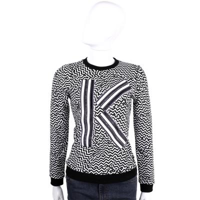 KENZO 黑x白色鋸齒圖騰字母長袖上衣