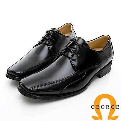 GEORGE 喬治-時尚職人系列 經典素面綁帶小方楦紳士鞋皮鞋-黑