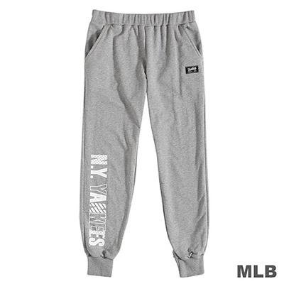 MLB-紐約洋基隊俏皮印花合身縮口薄棉褲-麻灰 (女)