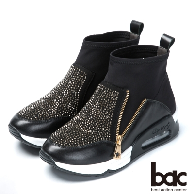 bac混搭時尚 萊卡水鑽休閒短靴-黑