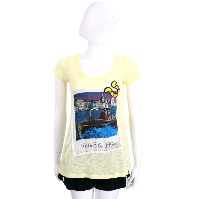 Ultrachic 黃色拼接風景照印花短袖T恤