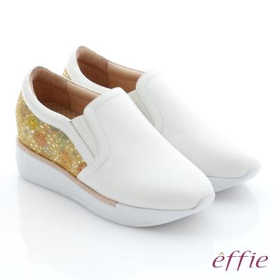 effie 彈力舒芙 真皮內增高奈米休閒鞋 白色