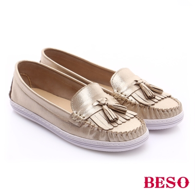 BESO-極簡風格-真皮流蘇休閒樂福平底鞋-金