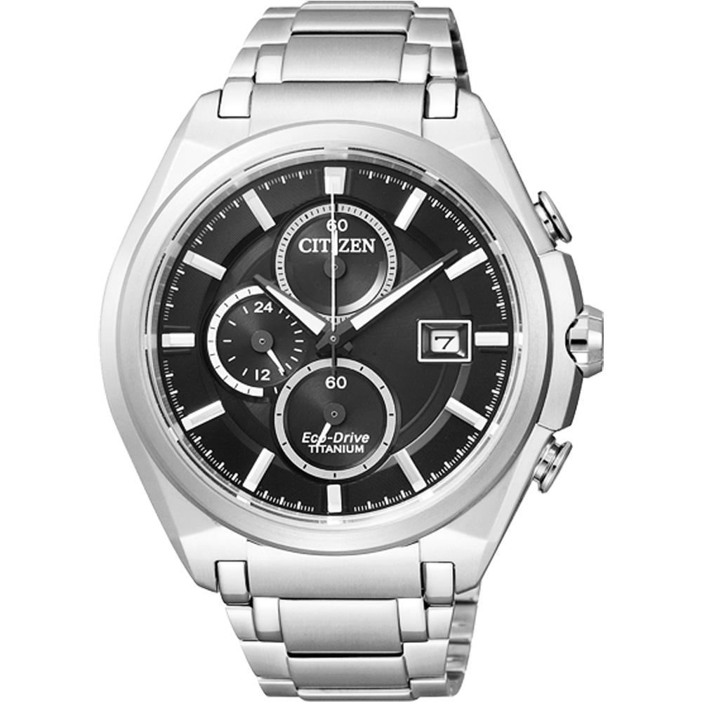 CITIZEN 【鈦】怡然自得光動能三環計時腕錶(CA0351-59E)-黑/43mm