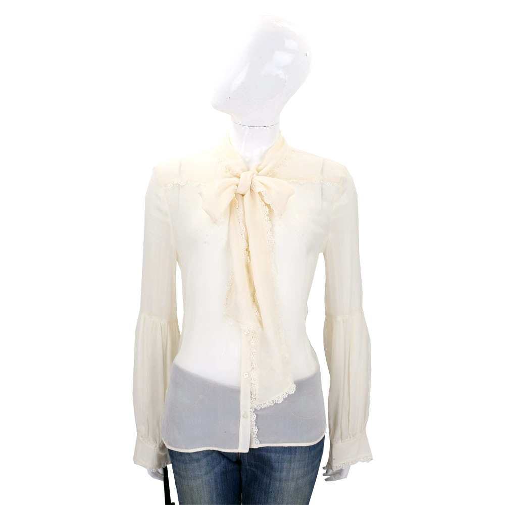 PINKO 米黃色織花滾邊領結絲質長袖襯衫
