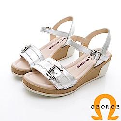 GEORGE 喬治-簡約寬帶扣環休閒涼鞋楔型鞋-銀