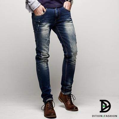 DITION-藍染皮革DENIM窄管牛仔褲-韓版-小賈斯汀-貝克漢