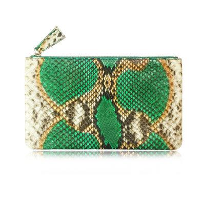ACUBY 限量單品手工蛇皮長款手拿包/變色綠