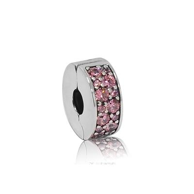 Pandora 潘朵拉 桃色鑲鋯扁狀夾扣式 純銀墜飾 串珠