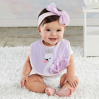 Baby Aspen BAS 變裝派對紫色童話公主天鵝圍兜髮帶彌月禮組