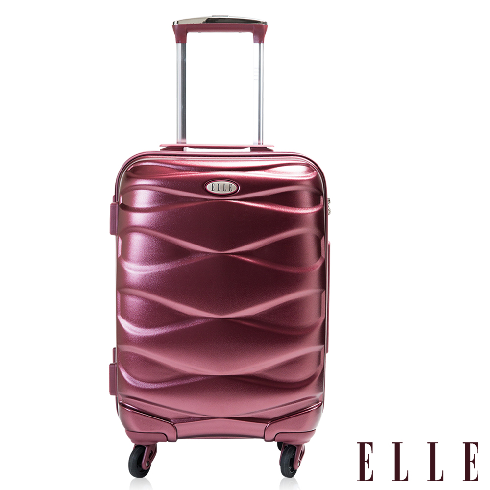 福利品 ELLE 28吋水波紋流線純PC100%防刮行李箱- 酒紅