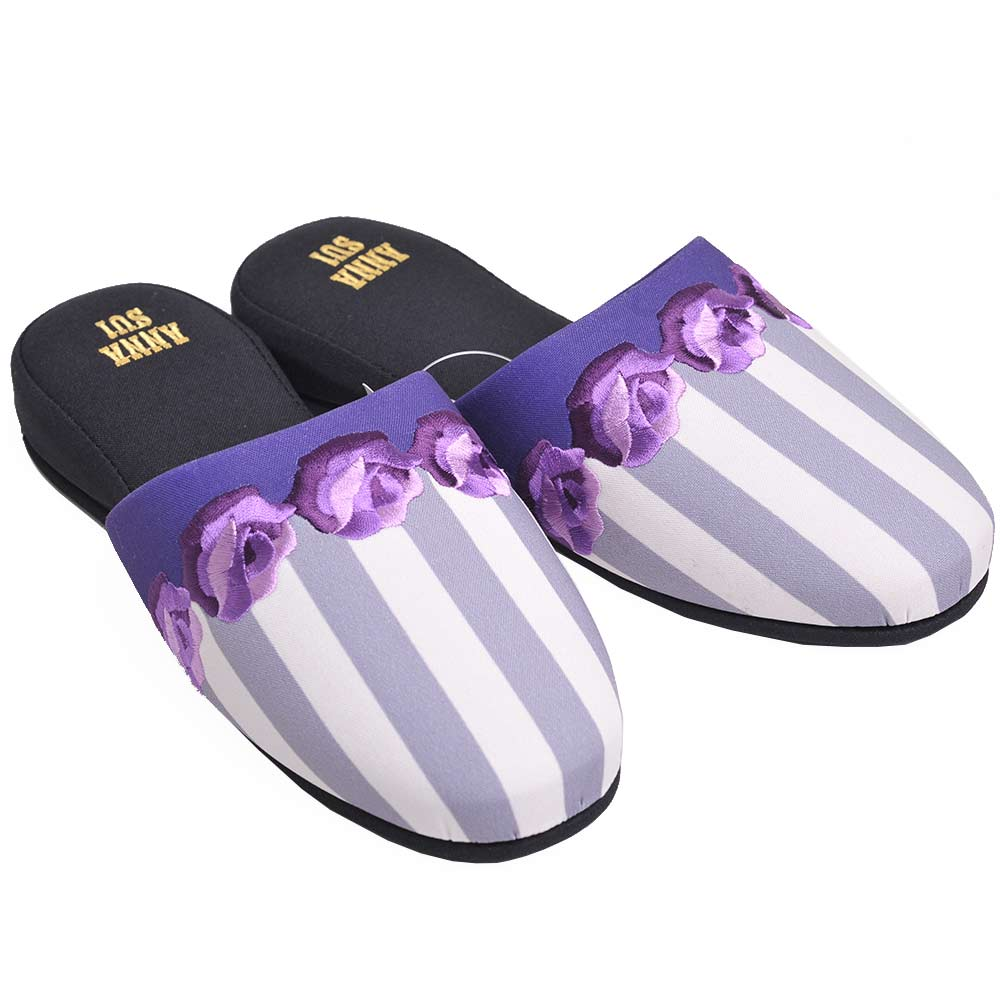 ANNA SUI 優雅玫瑰花朵圖騰LOGO刺繡室內鞋(紫玫瑰)