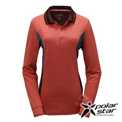 PolarStar 女 吸排長袖圓領衫│機能衣『暗橘』P17216