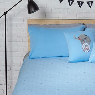 Yvonne Collection大象花布雙人床包-灰藍