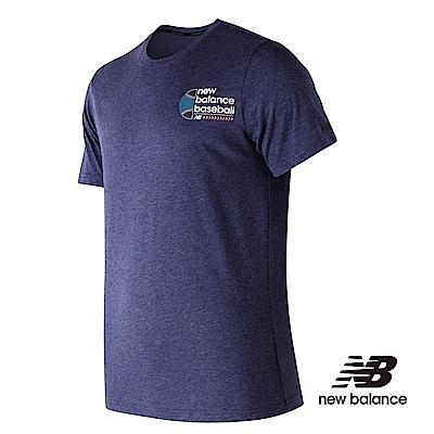 New Balance 花紗短袖上衣 男性 棒球款 丈青 MT81702TNV