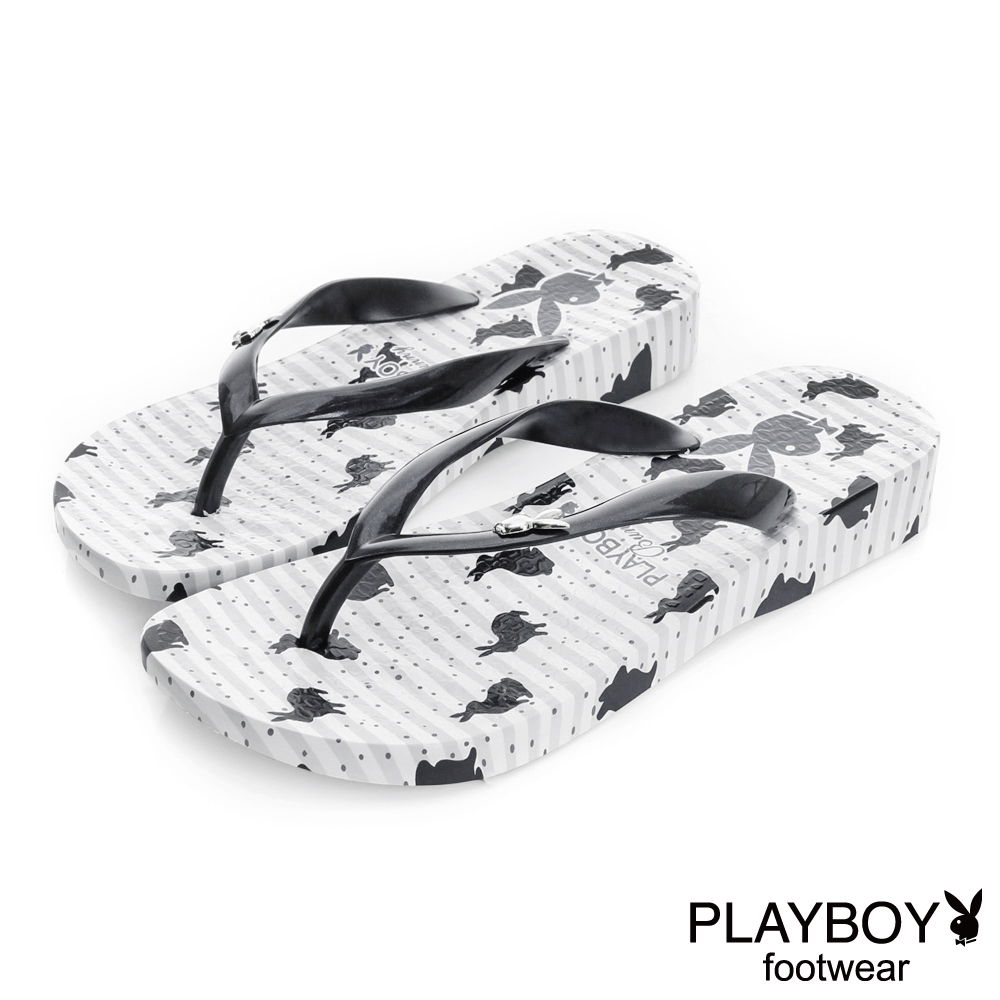 PLAYBOY夏日印象 小兔子印花夾腳拖鞋-白(女)