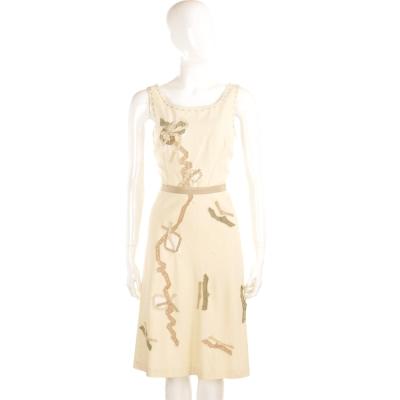 MOSCHINO 米黃色車縫緞帶設計無袖洋裝
