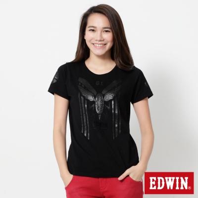 EDWIN 帥氣騎士印花短袖T恤-女-黑色