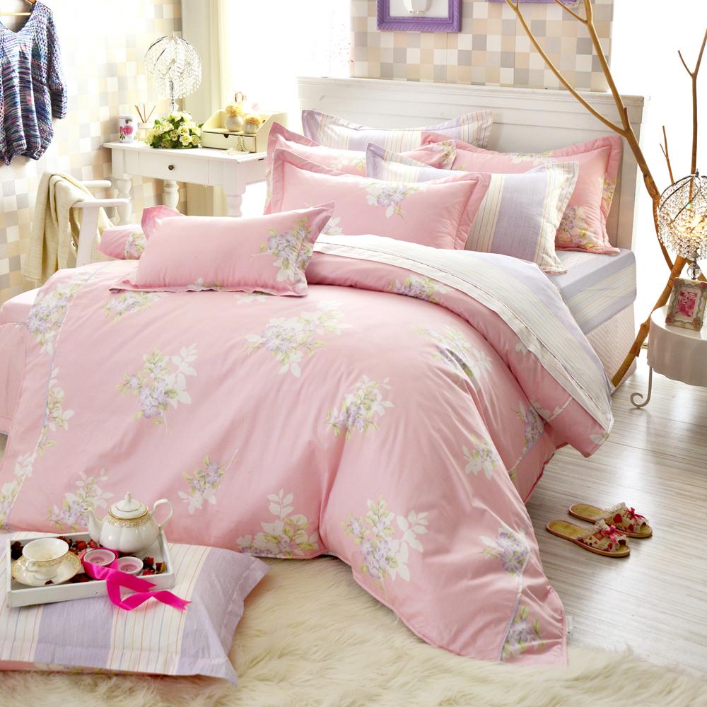 法國-MONTAGUT-春曉花苑-粉-精梳棉-單人三件式兩用被床包組