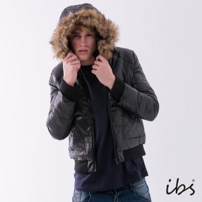 IBS 菱格口袋羽絨外套-黑色-男