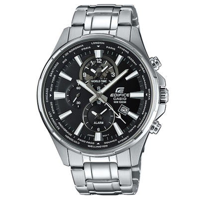 EDIFICE 城市光陰時尚魅力帥氣指針腕錶(EFR-304D-1A)黑面/45mm