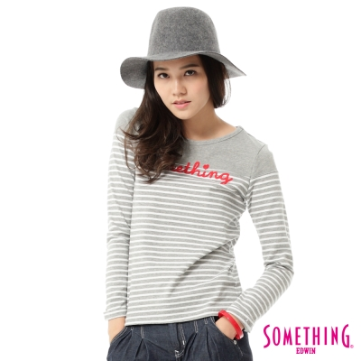 SOMETHING-LOGO繡花條紋長袖T恤-女-淺灰