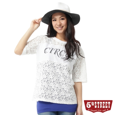 5th-STREET-T恤-人氣女孩蕾絲縷空印字T