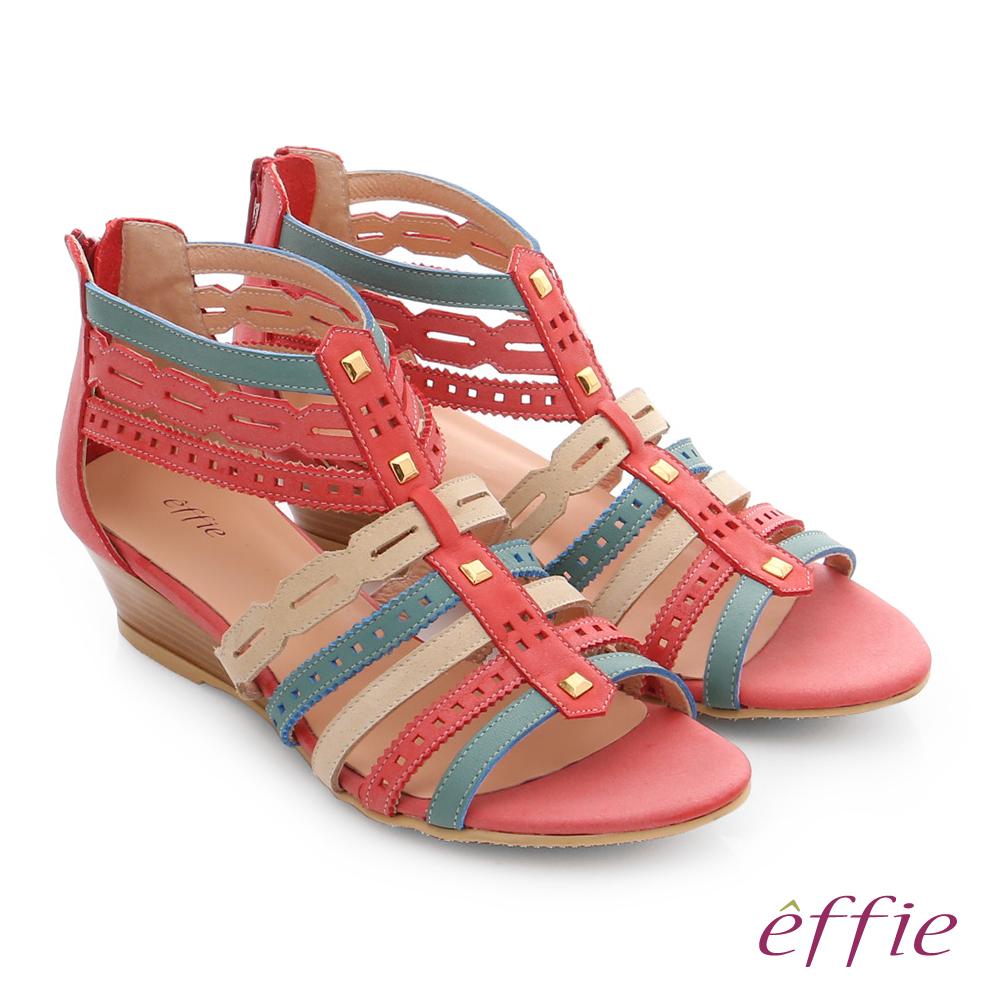 effie 嬉皮假期 小坡跟彩色羅馬楔型涼鞋 桃粉色