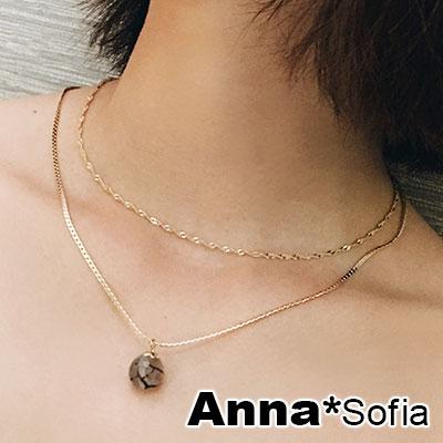 AnnaSofia 霧透紋石 雙層鎖骨鍊項鍊(金系)
