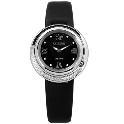CITIZEN L光動能真鑽藍寶石水晶玻璃牛皮手錶-銀黑色/32mm