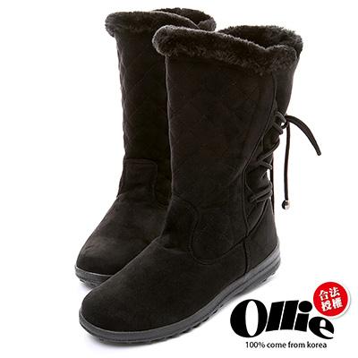 Ollie韓國空運-正韓製菱格紋後綁帶蝴蝶結高筒雪靴-黑