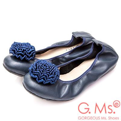 G.Ms. 手工芍藥緞花牛皮彎折娃娃鞋-深藍
