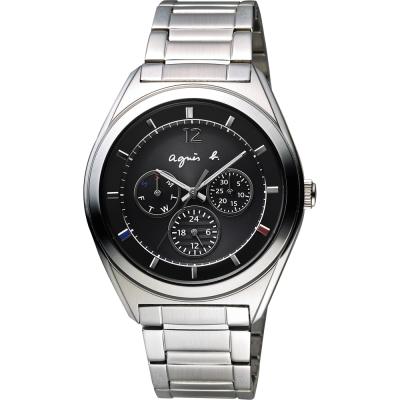 agnes b. Solar 驚豔巴黎太陽能日曆腕錶-銀/40mm