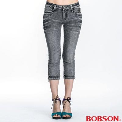 BOBSON 女款側拉鍊裝飾七分褲(灰167-87)