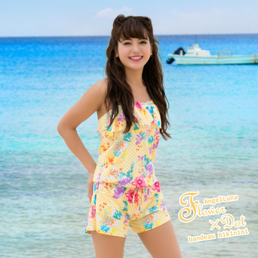 【AngelLuna日本泳裝】冰淇淋色圓點三件式比基尼泳衣-黃色連身褲