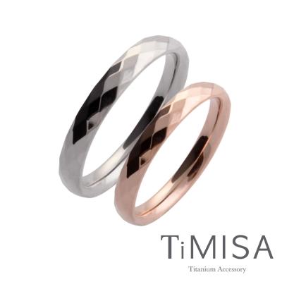 TiMISA《格緻真愛(細版原色+玫瑰金)》純鈦對戒