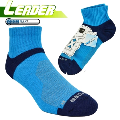 LEADER COOLMAX 除臭 機能運動襪 亮藍