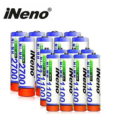 iNeno 鎳氫高容量充電電池3號8入 + 4號8入