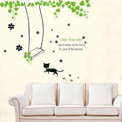 A-006手繪動物系列 貓咪秋千大尺寸高級創意壁貼  牆貼
