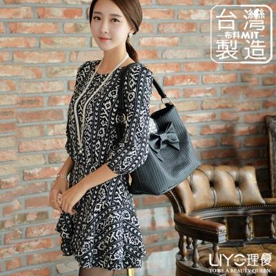 LIYO理優洋裝MIT圖騰雪紡連衣裙(黑)