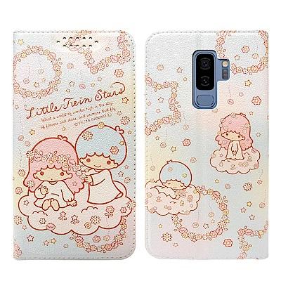 Kikilala 雙子星 Samsung S9+ 粉嫩系列彩繪磁力皮套(花圈)