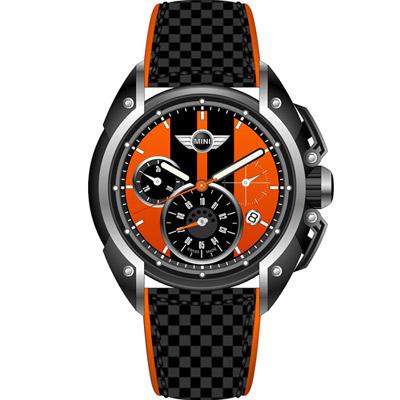 MINI Swiss Watches  極速時尚腕錶-黑x橘/45mm
