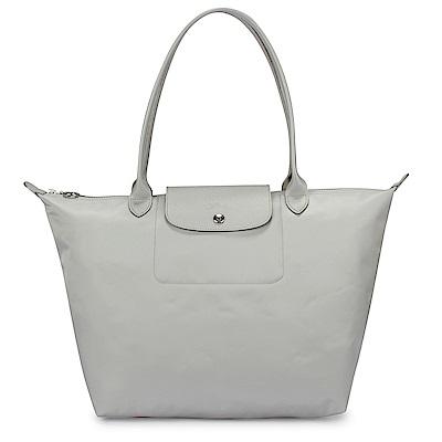 Longchamp 厚尼龍中型長柄水餃包-銀白色