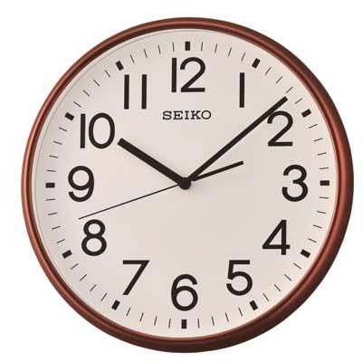 SEIKO 日本精工 設計風 滑動式秒針 靜音掛鐘 時鐘(QXA677B)-咖啡/35cm